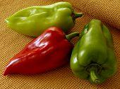 fresh sweet peppers on napkin