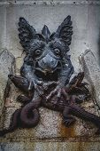 devil figure, bronze sculpture with demonic gargoyles and monsters
