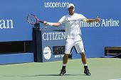 Two times Grand Slam Champion Lleyton Hewitt practices for US Open 2014 at Arthur Ashe Stadium