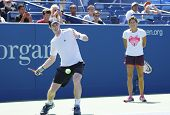 Grand Slam Champion Andy Murray practices with his coach Amelie Mauresmo for US Open 2014