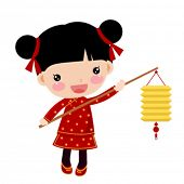 Chinese girl with a lantern