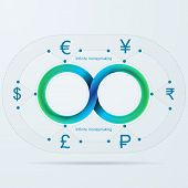 stock photo of mobius  - Blue infinity sign with silhouette currency signs for moneymaker around - JPG