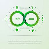 foto of mobius  - Green infinity sign with ecology silhouette signs around - JPG