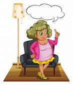 Illustration of a woman standing in a living room