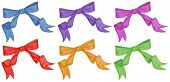 Illustration of the colourful bows on a white background