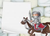 Illustration of a banner with a knight background