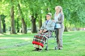 Senior in wheelchair sitting in park with his wife on a sunny summer day