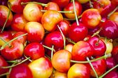 Close Up Of Fresh, Sweet Bing Cherries For Sale At A Market