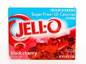 Hayward, CA - July 24, 2014: packet of JELL-O brand sugar free gelatin in Black Cherry flavor