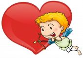 Illustration of cupid and heart on a white background