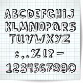 Alphabet Decorative Font On A Background Of Checkered Sheet Of Paper In The Style Of The Sketch