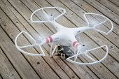 FORT COLLINS, CO, USA - AUGUST 4, 2014:  Radio controlled DJI Phantom quadcopter drone with GoPro He