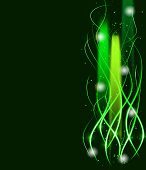 Blurry abstract green lined light effect background.