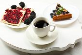 Delicious breakfast with coffee and cookies