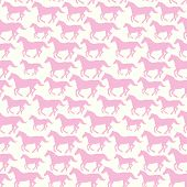 Seamless pattern with hand drawn silhouette horses