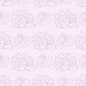 Seamless pattern with outline decorative seashells. Neutral back