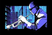 Jazz trumpet player over a city background - Vector illustration