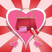Pink purse and wallet on heart background