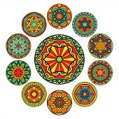 Set Of Round Ethnic Patterns