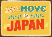 Vintage metal sign - Let's move to Japan - Vector EPS 10.