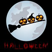 foto of sweeper  - Pumpkins on a sweeper a beautiful vector illustration to Halloween - JPG
