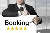 Businessman Pointing On Sign Booking Rating Stars