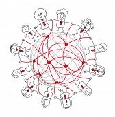social network. Group of businessmen around the world. It symbolizes the networking