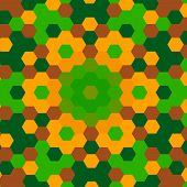 Abstract Green Hexagon Pattern Background - Retro
