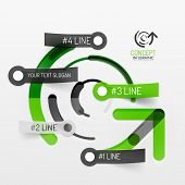 Embossed paper minimal style line diagram and stickers with options. Banner or business infographic