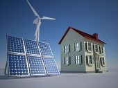 stock photo of wind-power  - House solar panel and wind turbine  - JPG