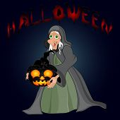 Halloween Night Background With  Witch And Pumpkins. Vector Illustration
