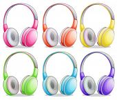 Illustration of different color headphones