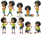 Illustration of the African-American kids on a white background