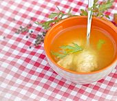 Soup with with semolina dumplings (noodles)