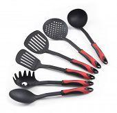 plastic kitchen utensils isolated on white background