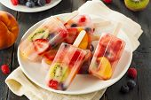 picture of popsicle  - Healthy Whole Fruit Popsicles with Berries Kiwi and Peaches - JPG