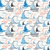 Seamless nautical pattern with sailing boats