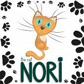 Funny cartoon cat Nori