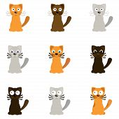 Funny cartoon cats, vector