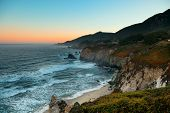Seascape at sunrise in Big Sur in California.