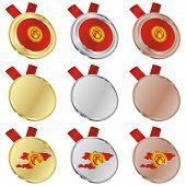kyrgyzstan vector flag in medal shapes
