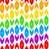 Colorful simple ikat middle east traditional silk fabric seamless pattern on white, vector