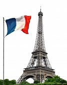 pic of french culture  - Eiffel Tower with French flag on white background - JPG