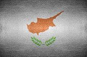 Closeup Screen Cyprus Flag Concept On Pvc Leather For Background