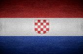 Closeup Screen Croatia Flag Concept On Pvc Leather For Background