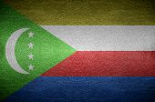 Closeup Screen Comoros Flag Concept On Pvc Leather For Background