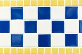 Blue Yellow And White Tile Wall High Resolution Real Photo
