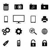 Set of flat icons - business and technology