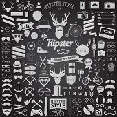 Huge set of vintage styled design hipster icons. Vector signs and symbols templates for your design