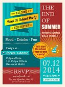End Of Summer Party Poster Or Card Design Template Layout